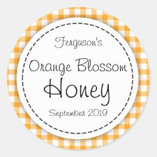 Round orange blossom honey orange jar top label stickers