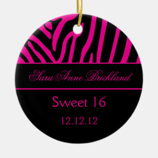 Round Ornament Hot Pink Black Zebra Sweet 16