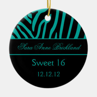 Round Ornament Teal Black Zebra Sweet 16