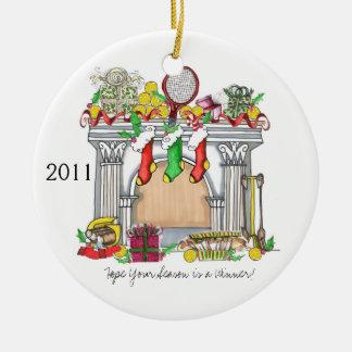 Round Ornament, Tennis Mantel, 2011 Ceramic Ornament