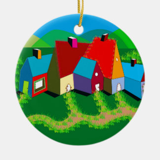 Round Ornament with Folk Art Houses