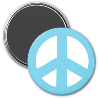 Round Peace Sign Magnet, Baby Blue on White 3 Inch Round Magnet