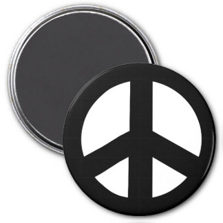 Round Peace Sign Magnet, Black on White 3 Inch Round Magnet