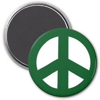 Round Peace Sign Magnet, Green on White 3 Inch Round Magnet
