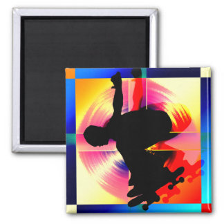 Round Peg in a Square Hole Skateboarding Square Magnet