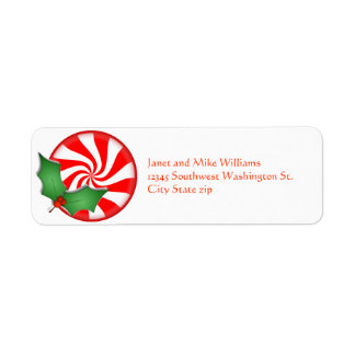 Round Peppermint Candy  Holly Sprig Personalized