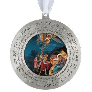 Round Pewter Orthodox Christian Christmas Ornament Round Pewter Ornament