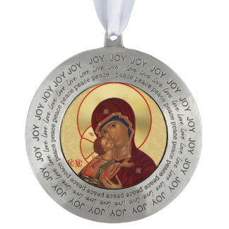 Round Pewter Orthodox Christmas Ornament