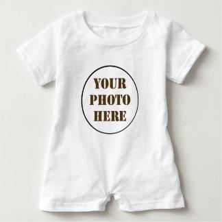 ROUND photo personalized WHITE baby romper