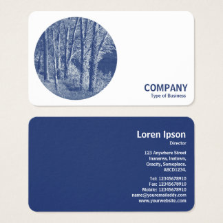 Round Photo - Trees by a River - Cyanotype Business Card