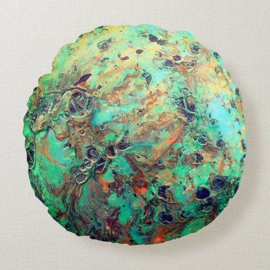 Round Pillow, 3D Effect, Green textured Painting Round Pillow
