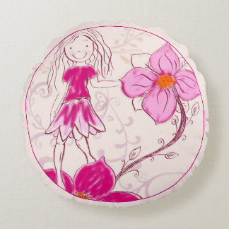 Round Pillow/Cushion, Flower Girl Round Pillow