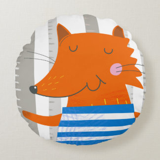 Round Pillow, Cute Fox Round Pillow