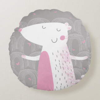 Round Pillow, Cute Mouse (Pink Accent) Round Pillow