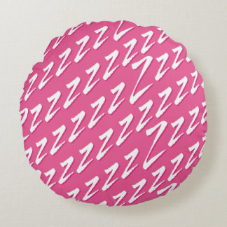 Round Pink Catching Z's Round Pillow