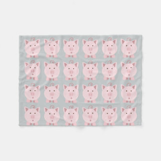 Round Pink Pig Pattern Fleece Blanket