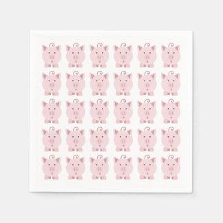 Round Pink Pig Pattern Napkin
