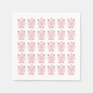 Round Pink Pig Pattern Paper Napkins