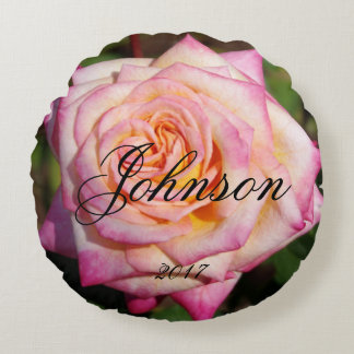 Round Pink Rose Round Pillow