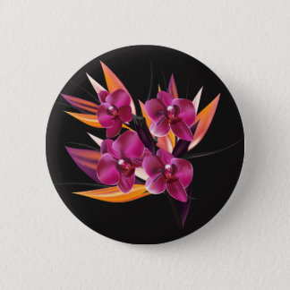 Round plastic button : with purple Floral art