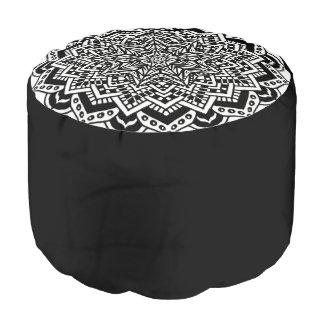 Round Pouf Black and White Design
