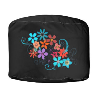 Round Pouf Black with Lovely Flower Design