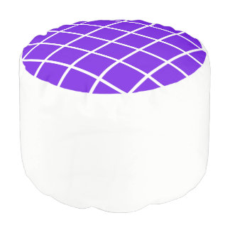 """Round pouf """"Grid"""" - White and lavender"""