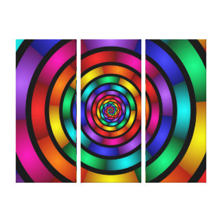 Round Psychedelic Colorful Modern Art Triptych Canvas Print