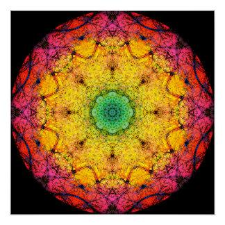 Round Rainbow Mandala Poster