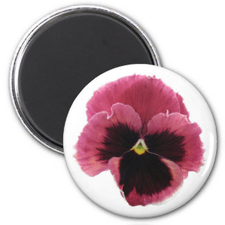 Round Red Pansy Magnet
