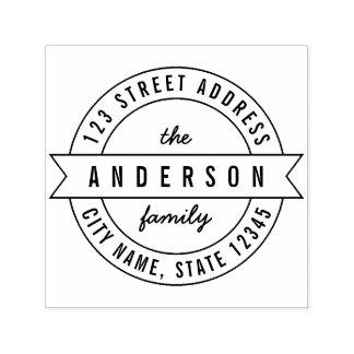 Round Ribbon Modern Family Name Return Address Self-inking Stamp
