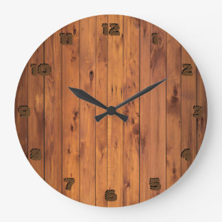 Round Rustic Faux Cherry Wood Stylized 3d Number Large Clock