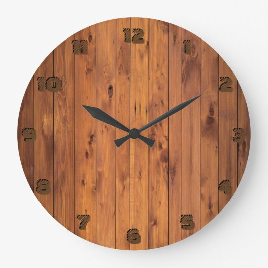Round Rustic Faux Cherry Wood Stylized 3d Number Wallclock