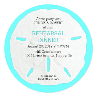 Round Sand Dollar Rehearsal Dinner Invitations