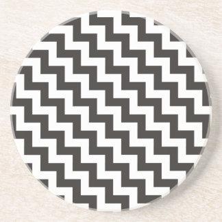 Round Sandstone Coaster, Black and White Chevrons Coaster