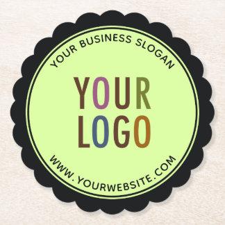 Round Scalloped Edge Paper Coasters Company Logo