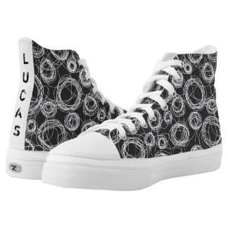 Round Scribbles Black and White High Tops