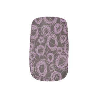 Round Scribbles Purple and Plum Minx Nail Art