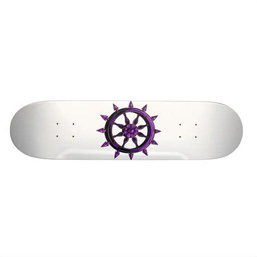 round ships wheel graphic purple.png skate decks