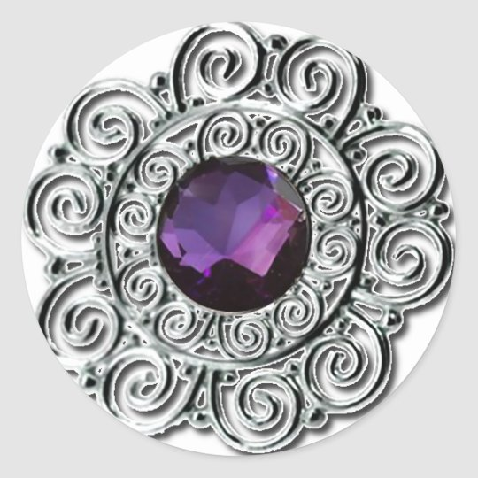 Round Silver and Amethyst Print Sticker