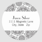 Round Silver Flame Address Labels