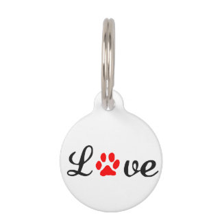 Round Small Pet Tag love pet