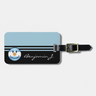 Round Smiling  Argentine Flag Luggage Tag