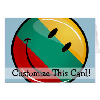 Round Smiling Lithuanian Flag Card