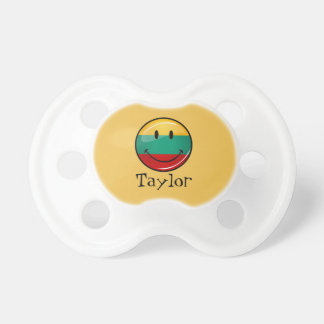 Round Smiling Lithuanian Flag Pacifier