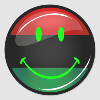 Round Smiling Pan-African Flag Classic Round Sticker