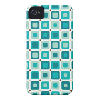 Round Squares Pattern Blue iPhone 4 Cover