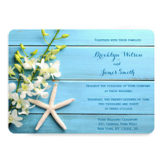 Round Starfish Beach Wedding Invitations Orchid