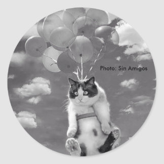 Round Sticker: Funny cat flying with Balloons Classic Round Sticker