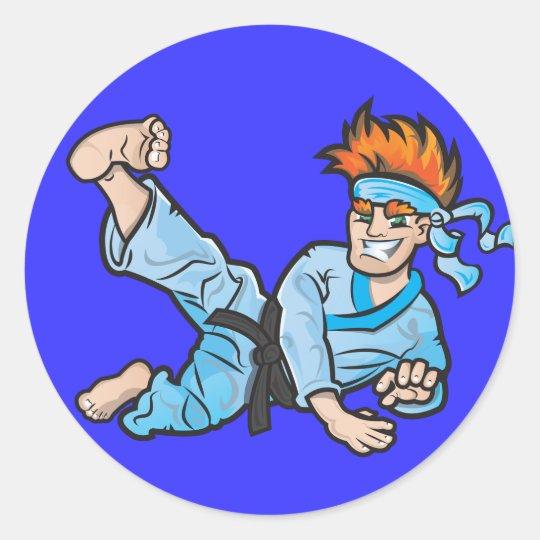 Round Sticker, Glossy, with karate kid Classic Round Sticker